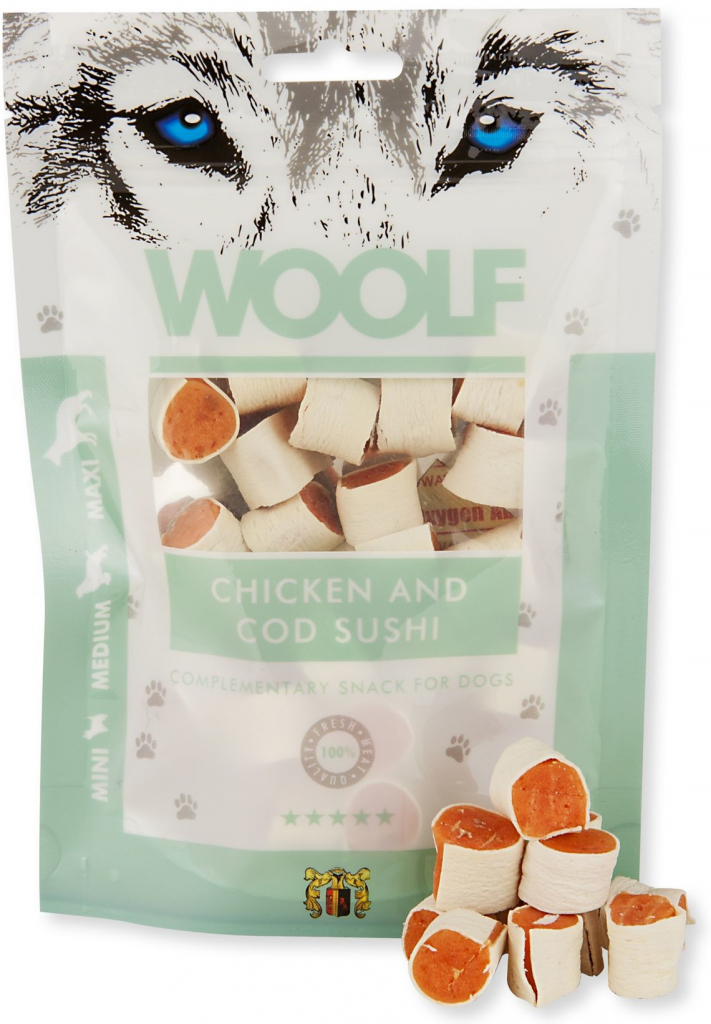 WOOLF pochoutka chicken and cod sushi 100g